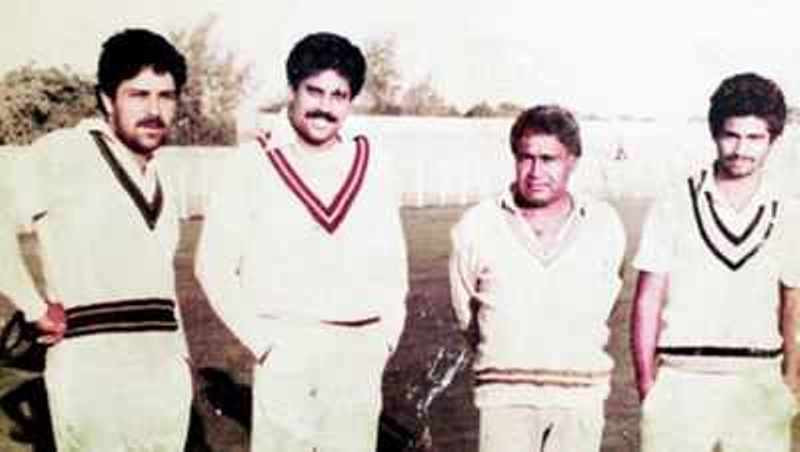 Kapil Dev (2nd from left) With His Coach Desh Prem Azad (2nd from right)