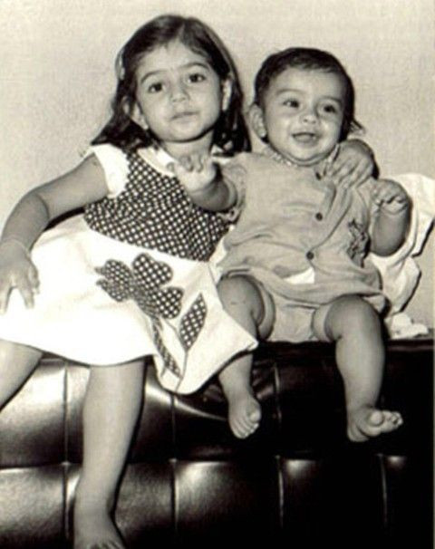 A childhood photo of Ameesha Patel and her brother
