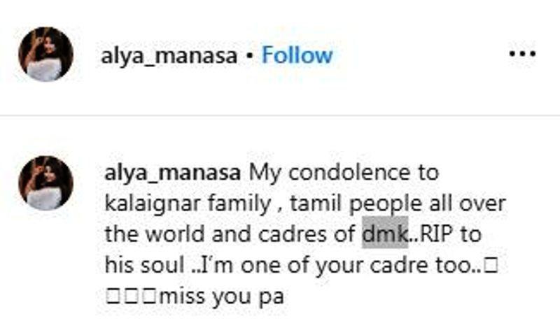 Alya Manasa's Instagram Post