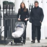 Anna Eberstein and husband Hugh Grant with their new baby.