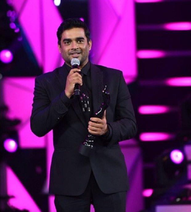 R. Madhavan with a filmfare award