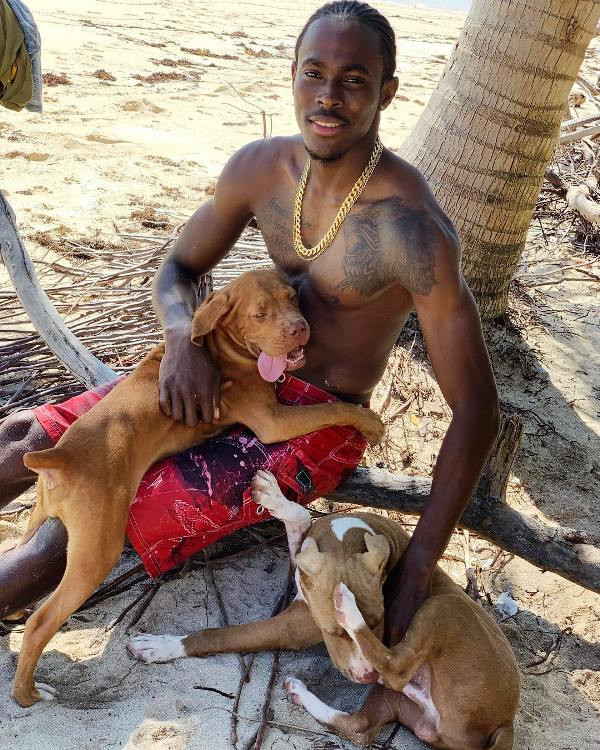 Jofra Archer Playing With His Pet Dogs
