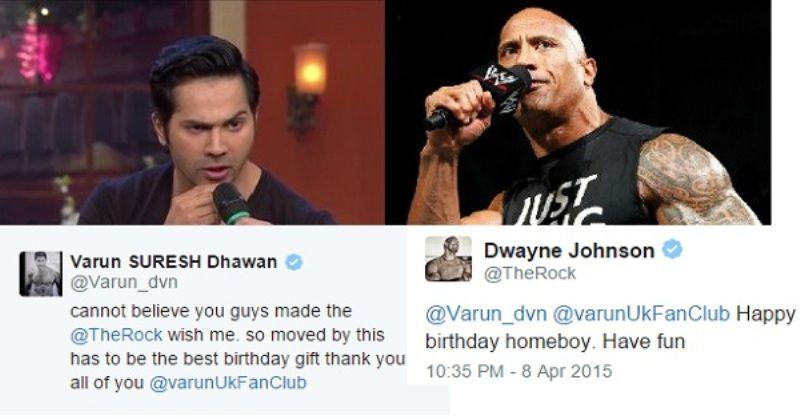 The Rock Wishing Varun Dhawan on His Birthday