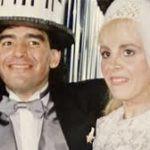 Diego Maradona with his wife Claudia Villafane