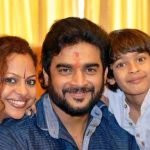 R. Madhavan with his wife and son