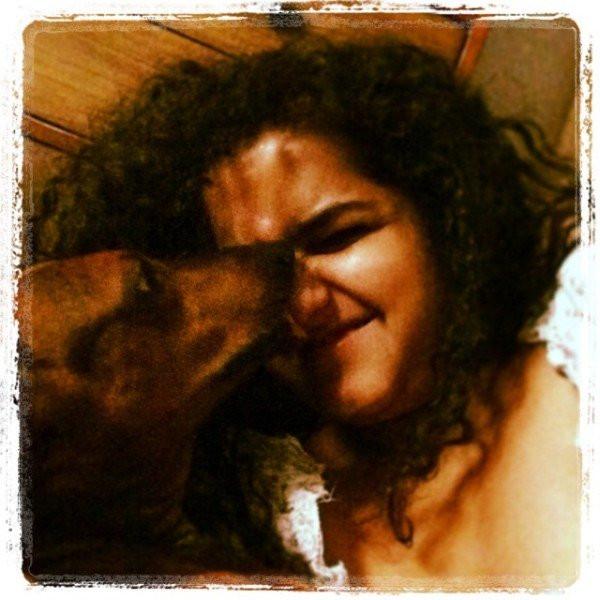 Jannabi Das with her pet dog
