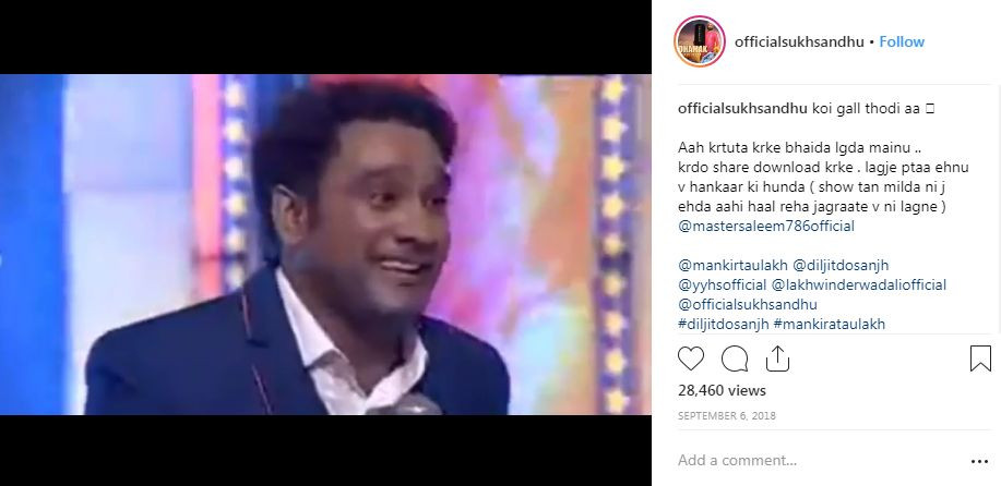 Screenshot of Sukh Sandhu's Instagram post in which he supports all the other singers
