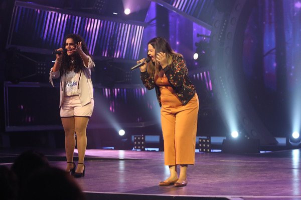 Jannabi Das and her sister Chayanksh Das on the sets of Rising Star
