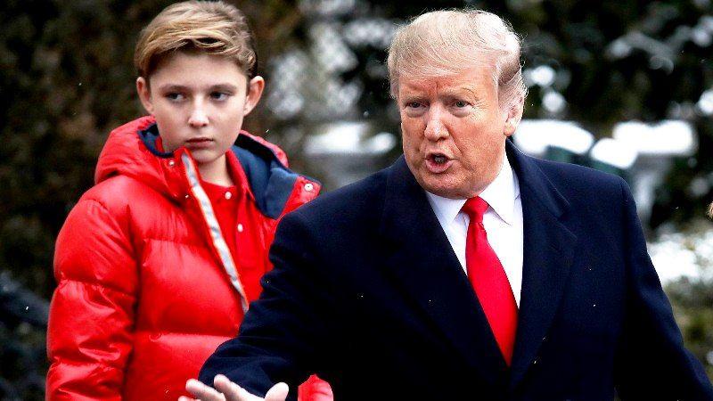 Donald Trump with his son Barron Trump
