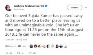 Suchitra Krishnamoorthi disclosed Sujata Kumar's death