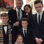 David Beckham with his wife and children