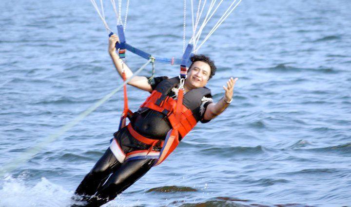Abu Malik while parasailing in Bali