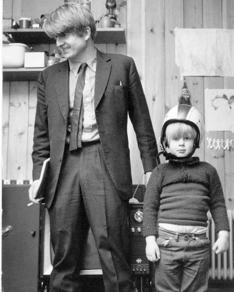 Boris Johnson as a child with his father, Stanley Johnson