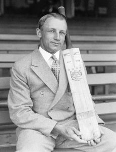 Bradman with his Wm. Sykes bat, in the early 1930s