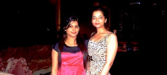 Gopal Kanda's daughter (left) with Geetika Sharma