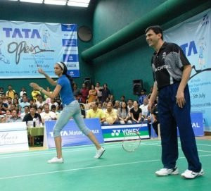 Deepika Padukone playing badminton with her father