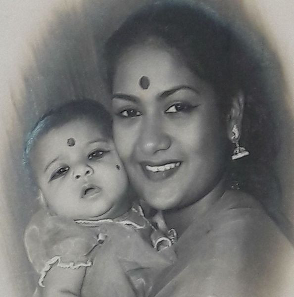 Vijaya Chamundeswari with her mother