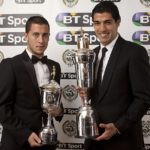 Eden Hazard winning the PFA Young Player of the Year Award posing with the PFA Player of the Year Award winner Luis Suarez