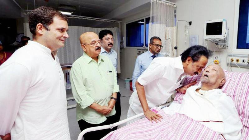 M Karunanidhi on 31 July 2018 in Kauvery Hospital, Chennai