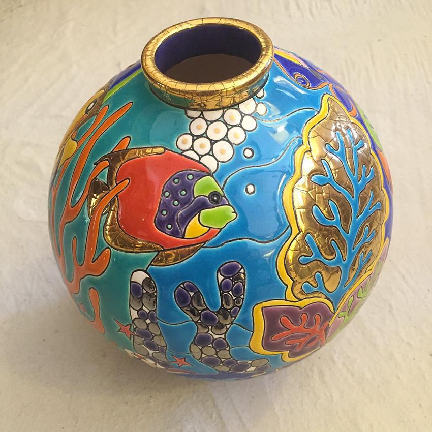 vase emaux longwy