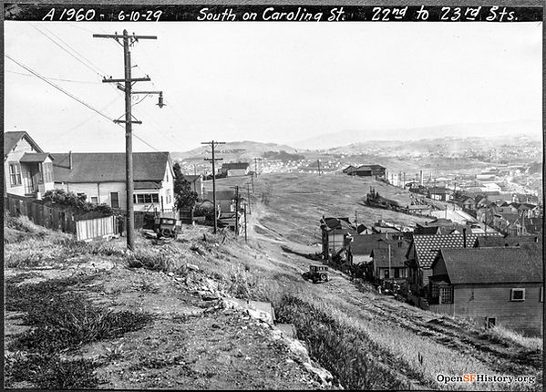 1929 view South down Carolina St from 22nd St, in San Francisco