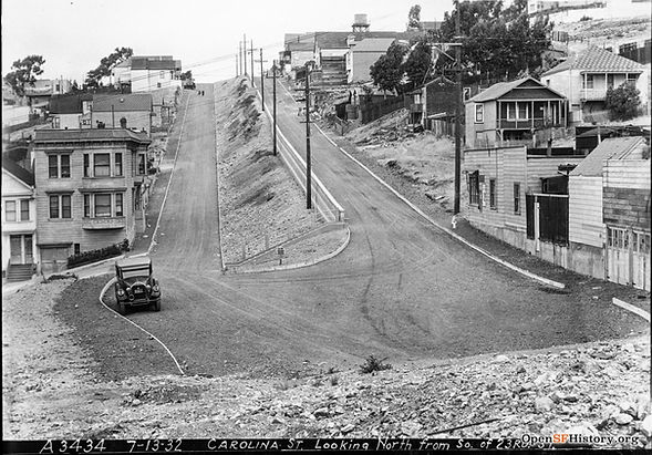 1932 view looking North up Carolina St from 23rd St in San Francisco