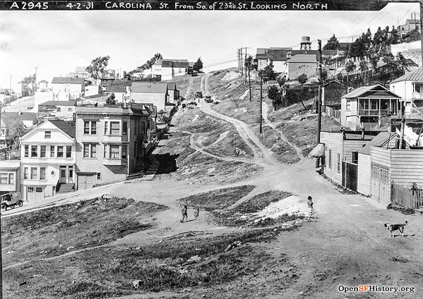 1931 view looking North up Carolina St from just south of 23rd St in San Francisco