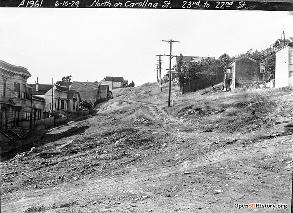 1929 view looking North up Carolina St from 23rd St, in San Francisco