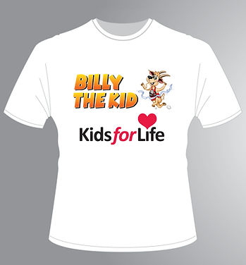 Kids for Life, billy the kid t-shirt wear for support