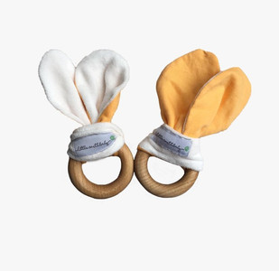Bush Baby yellow, pack of 2 natural teething toys