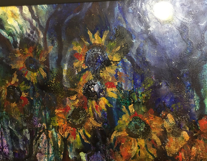 Midnight Sunflowers  40x50cm