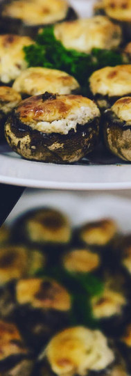 Our stuffed mushroom caps are loaded with a garlic herb cream cheese and parmesan filling & baked to perfection.