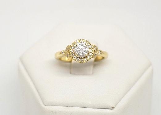 18ct Yellow Gold Diamond Halo SettingRing