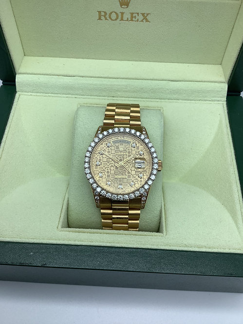 Rolex DayDate 18ct gold with aftermarket Diamond bezel and Dial circa 1994