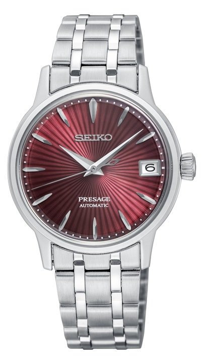 Seiko Presage Cocktail Time Kir Royale Automatic Red Dial Silver Stainless Stee