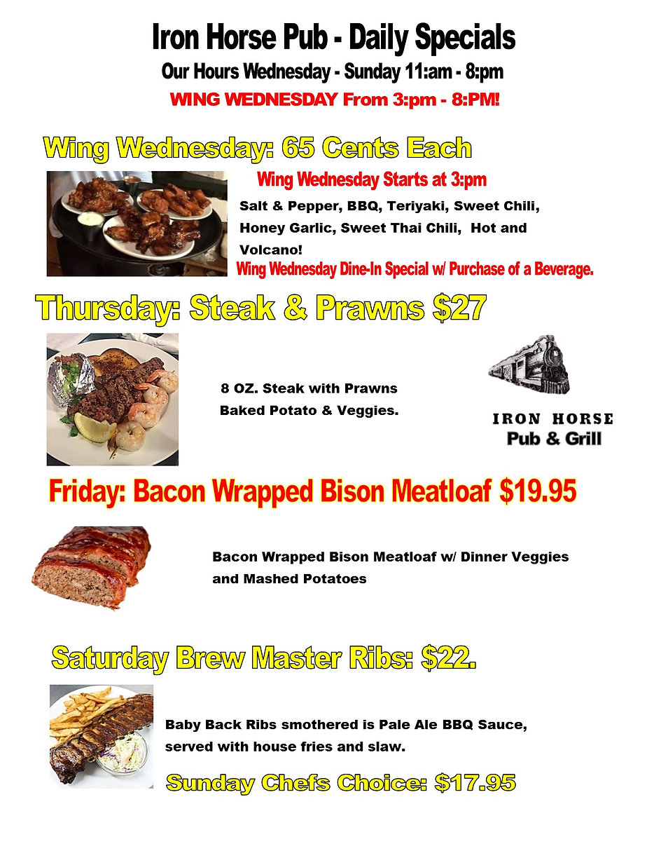 Iron Horse Pub - Daily Specials July 202