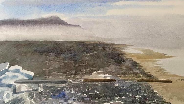 Coast sketch with mist