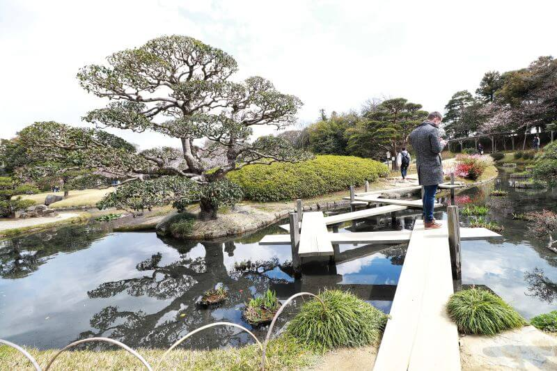 Bridge crossing a koi pond in Korakuen Garden in Japan's Okayama