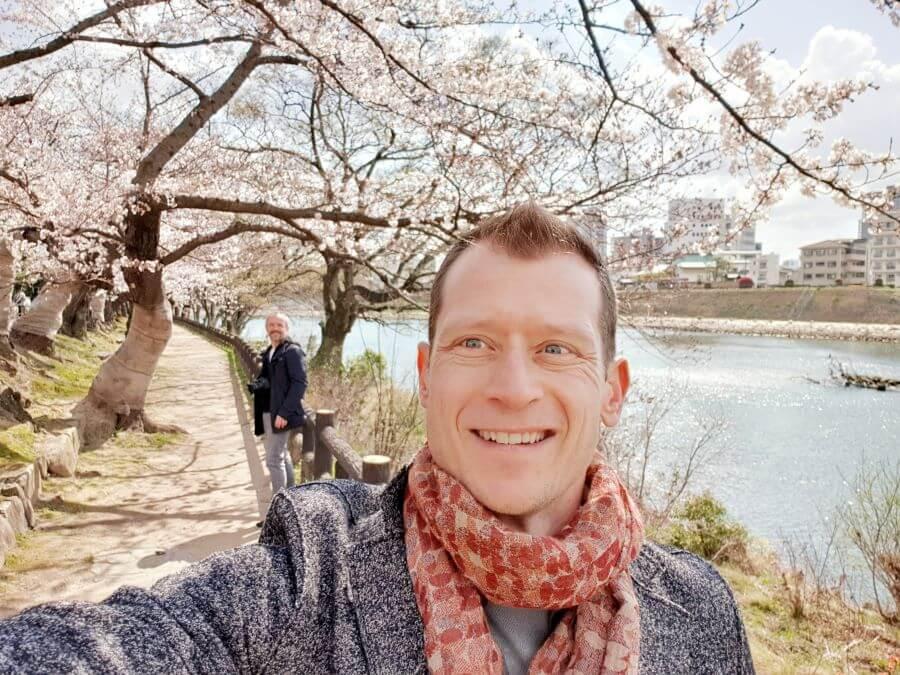 Sakura cherry blossom viewing at Okayama's Asahi river in Japan