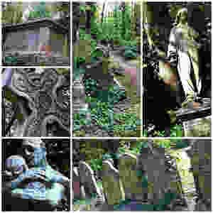 Photo collage of Highgate cemetery East in London