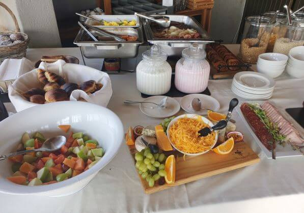 Breakfast buffet at the Naankuse Lodge restaurant in Namibia