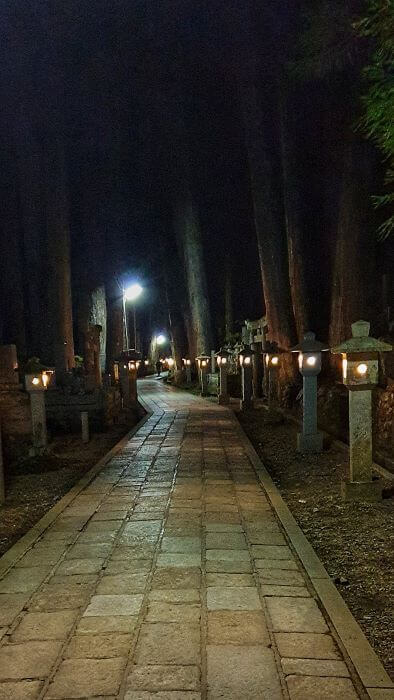 Lanterns showing the way in Okunoin cemetery at night