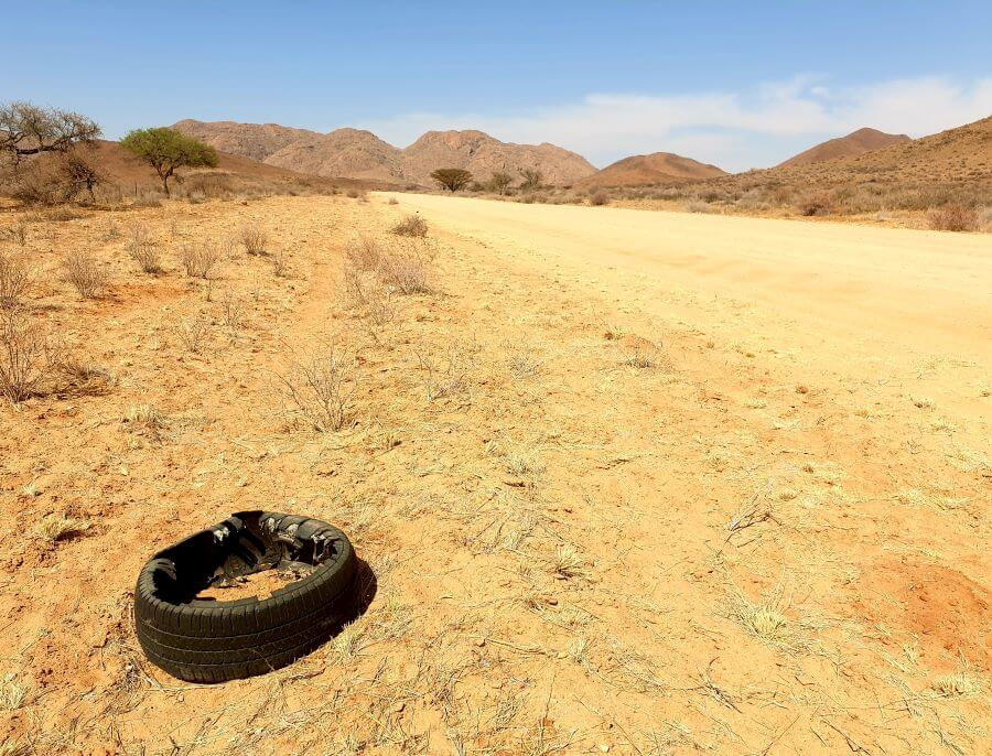 Blown-out tyres along Namibia's routes