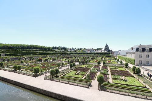 View of the Chateau de Villandry gardens in the Loire Valley