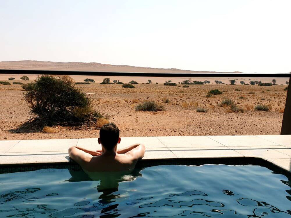 View from the private pool at Desert Grace Lodge, Namibia