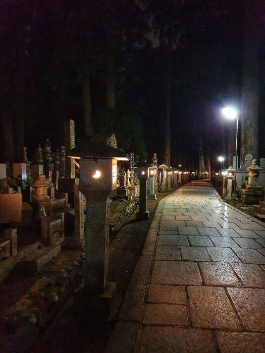 Nighttime tour of Okunoin cemetery