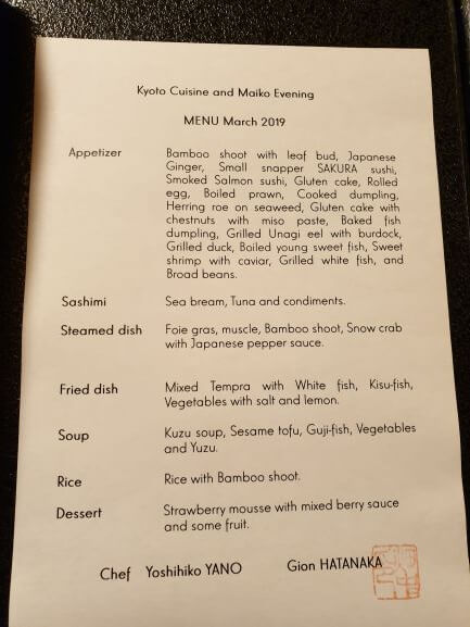 Dinner menu during evening with a geisha at Gion Hatanaka, Kyoto