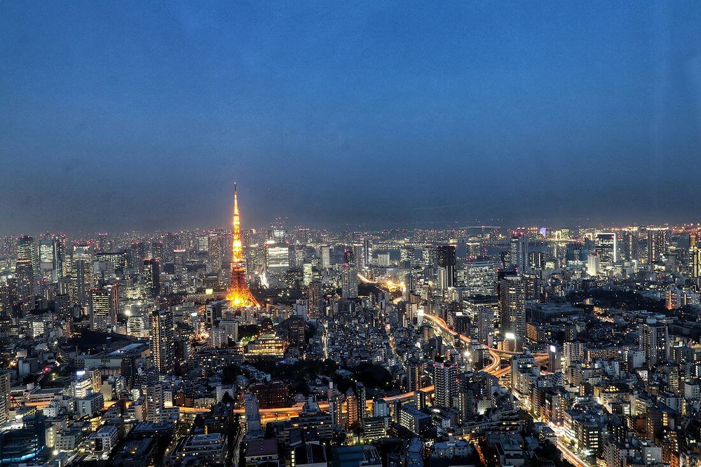 View of the Tokyo Tower at Night