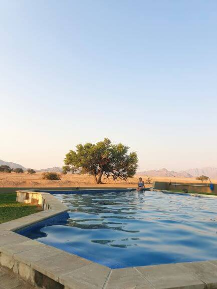 The swimming pool at Sossusvlei Lodge hotel in Sesriem