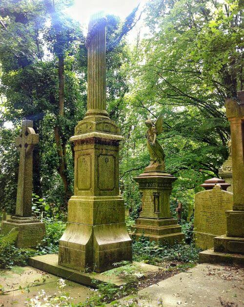 Gravestones, columns and angels in London's Highgate cemetery